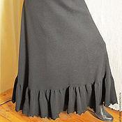 Одежда ручной работы. Ярмарка Мастеров - ручная работа юбка черная с оборкой. Handmade.
