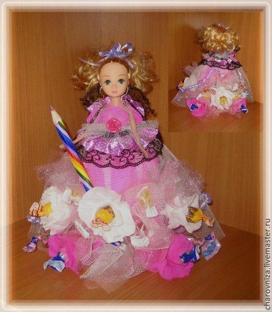 Персональные подарки ручной работы. Ярмарка Мастеров - ручная работа. Купить Конфетные букеты. Handmade. Розовый, шоколадные конфеты, кукла