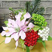 Цветы и флористика handmade. Livemaster - original item Composition with Poinsettia. Flowers polymer clay handmade. Handmade.