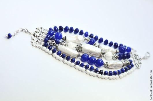 """Браслеты ручной работы. Ярмарка Мастеров - ручная работа. Купить Браслет """"Синее-синее море"""". Handmade. Синий, синий браслет"""