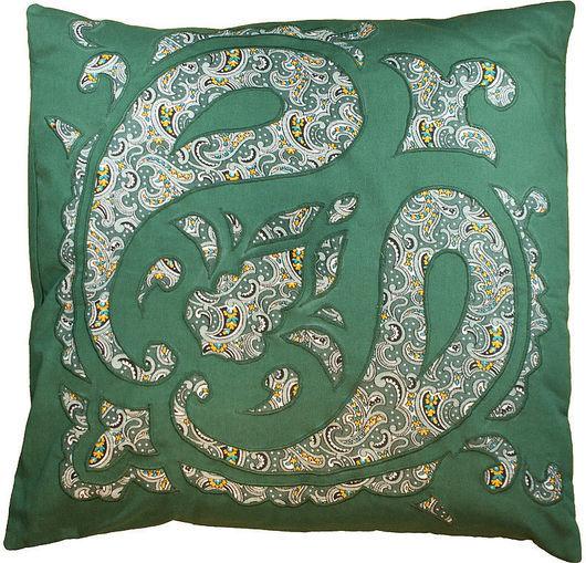 """Текстиль, ковры ручной работы. Ярмарка Мастеров - ручная работа. Купить Подушка диванная лоскутная  декоративная """"Восточная""""4 зеленая. Handmade."""