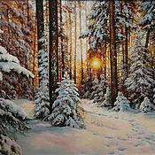 Картина, масло,холст, Зимний пейзаж, Закат в лесу