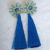 Украшения handmade. Livemaster - original item Earrings-brush: Earrings brush Flower blue Pusey. Handmade.