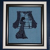 Картины и панно handmade. Livemaster - original item Cross stitch Girl at the window. Handmade.