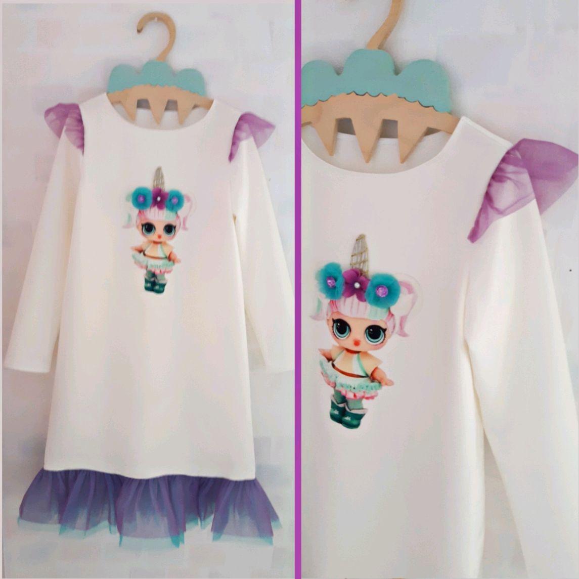 Нарядное платье для девочки с принтом кукла ЛОЛ подарок для девочки