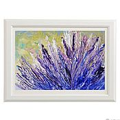 Pictures handmade. Livemaster - original item Oil painting Bright lavender. Handmade.