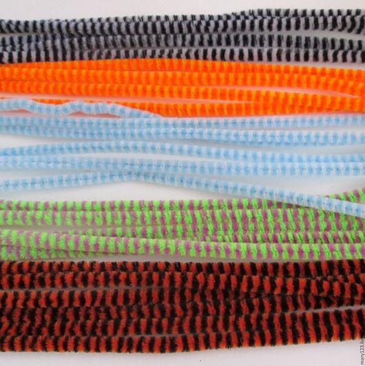 Другие виды рукоделия ручной работы. Ярмарка Мастеров - ручная работа. Купить Проволока пушистая полосатая (синельная, шенил, скрутики) 0,6х30 см. Handmade.