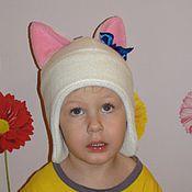 Работы для детей, ручной работы. Ярмарка Мастеров - ручная работа Шапка флисовая для девочки Кошечка. Handmade.
