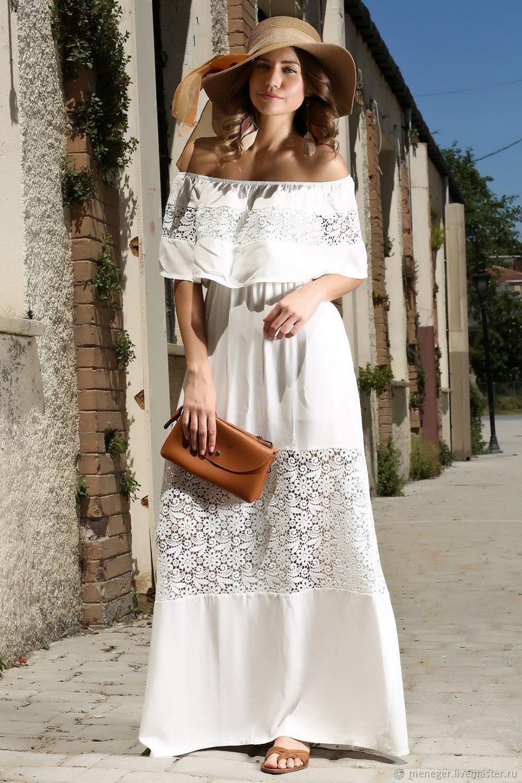 758fbd3715a Платья ручной работы. Ярмарка Мастеров - ручная работа. Купить Белое летнее  платье макси с ...