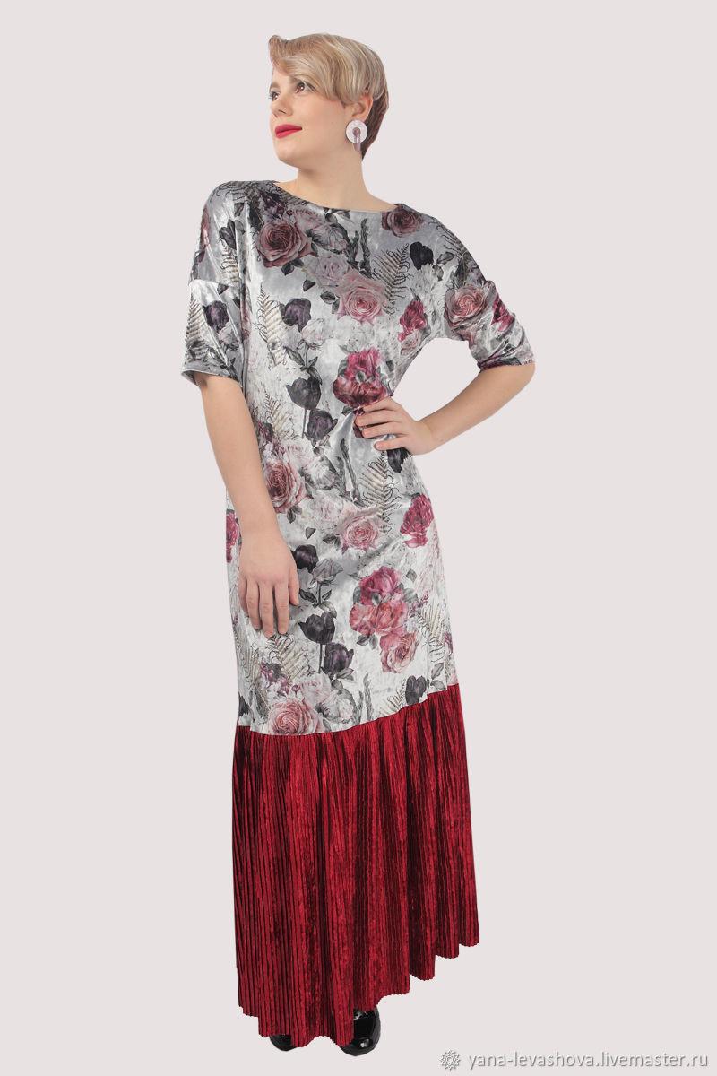 Evening dress elegant long floor length Burgundy velvet, Dresses, Moscow,  Фото №1