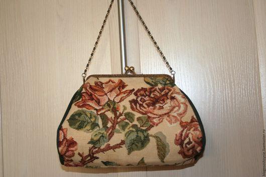 Сумочка гобеленовая, косметичка на фермуаре `Старинные розы` с натуральной кожей. Лара (ридикюльчики). HANDMADE