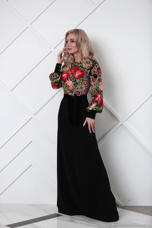 dresses: Floor-length dress in Russian style ' Flower bouquet', Dresses, St. Petersburg,  Фото №1