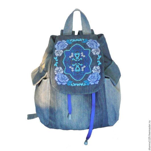Джинсовый бохо рюкзак `Морской бриз`, автор Zhanna Petrakova Atelier Moscow.Рюкзаки ручной работы. Купить рюкзак с вышивкой.Женский рюкзак, handmade.