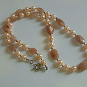 Украшения handmade. Livemaster - original item Necklace of natural pink pearls and heliolite (sun stone). Handmade.