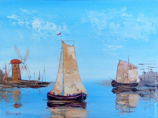 Картина - Море, лодки, парус