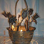 Для дома и интерьера ручной работы. Ярмарка Мастеров - ручная работа Светильник (плетеная корзина с цветами). Handmade.