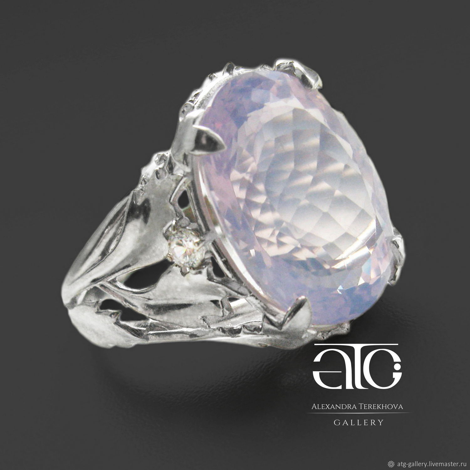 Made to order. Gorgeous ring with a luxurious lavender amethyst and cubic Zirconia.
