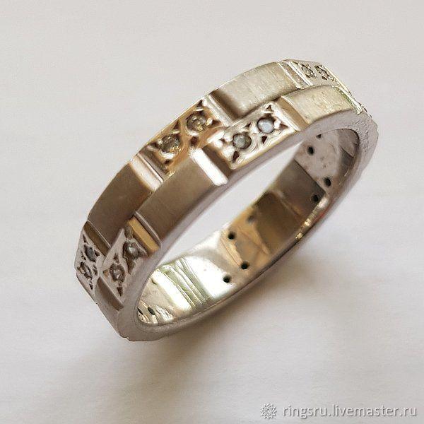 Свадебные украшения ручной работы. Ярмарка Мастеров - ручная работа. Купить Кольцо обручальное с бриллиантами золотое. Handmade. Золото
