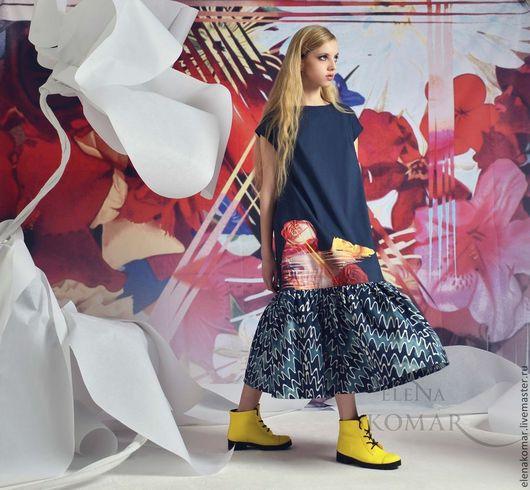 Платья ручной работы. Ярмарка Мастеров - ручная работа. Купить Платье джинсовое с аппликацией. Handmade. Тёмно-синий, Свободный стиль