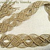 """Аксессуары ручной работы. Ярмарка Мастеров - ручная работа """"Чарующий лён"""", плетёный пояс, бежевый, макраме. Handmade."""