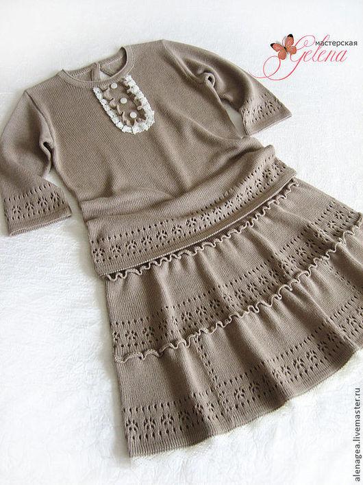 """Одежда для девочек, ручной работы. Ярмарка Мастеров - ручная работа. Купить Комплект для девочки """"Любава"""". Handmade. Какао, летняя юбка"""