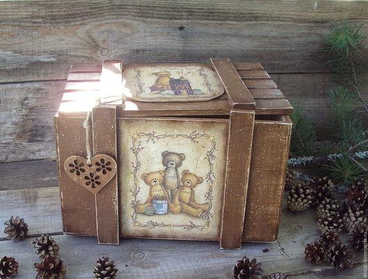 """Детская ручной работы. Ярмарка Мастеров - ручная работа. Купить Короб для игрушек """"Любимые мишки"""". Handmade. Коричневый, мишки"""