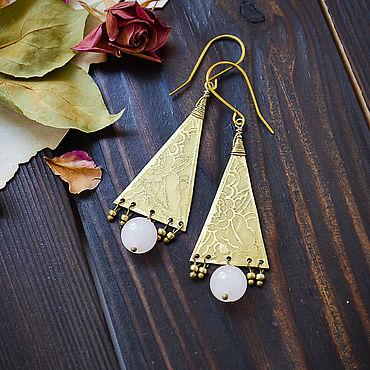 Decorations handmade. Livemaster - original item Brass boho earrings with rose quartz Long delicate earrings Gold. Handmade.