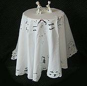 Большая белая круглая скатерть с вышивкой ришелье, 168 см