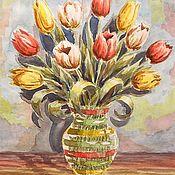 Картины и панно ручной работы. Ярмарка Мастеров - ручная работа 45х30см Тюльпаны Акварель. Handmade.
