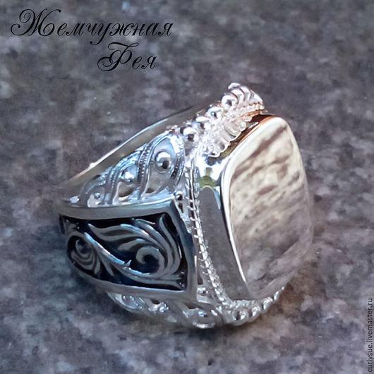 """Кольца ручной работы. Ярмарка Мастеров - ручная работа. Купить Серебряный перстень с чернением """" Могущество -3 """". Handmade."""