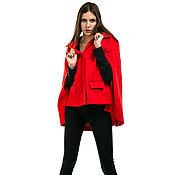 Пальто ручной работы. Ярмарка Мастеров - ручная работа Пальто: Пальто-кейп кашемир красное оверсайз. Handmade.
