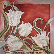 Аксессуары ручной работы. Ярмарка Мастеров - ручная работа Платок Попугайные тюльпаны. Handmade.
