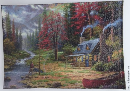 Кожаная обложка, обложка на паспорт, дом в лесу, спокойный отдых, умиротворение, прикольная обложка, ручная работа