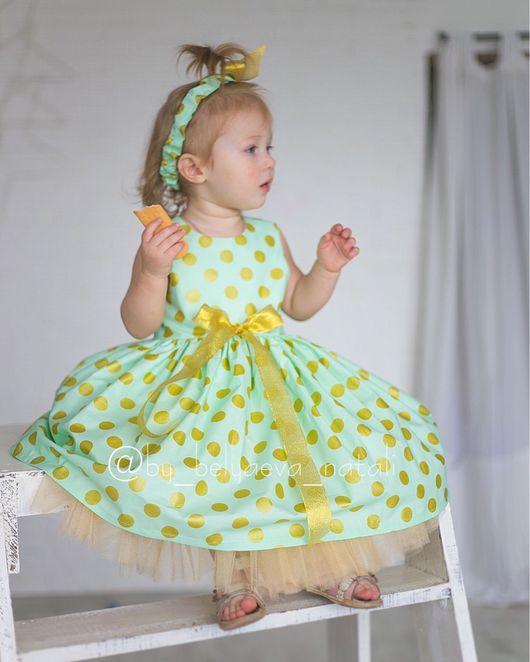 """Одежда для девочек, ручной работы. Ярмарка Мастеров - ручная работа. Купить Платье """"Золотые горохи"""" Скидка!. Handmade. Платье для девочки"""