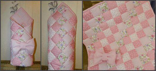 Пледы и одеяла ручной работы. Ярмарка Мастеров - ручная работа. Купить Лоскутное одеяло - конверт.. Handmade. Розовый, лоскутное шитье
