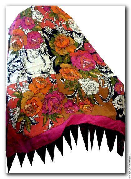 Винтажная одежда и аксессуары. Ярмарка Мастеров - ручная работа. Купить Шелковый платок винтаж. Handmade. Комбинированный, винтажный платок, винтаж