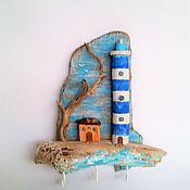 Ключницы ручной работы. Ярмарка Мастеров - ручная работа Ключница Одинокий маяк Домик дрифтвуд Голубой. Handmade.