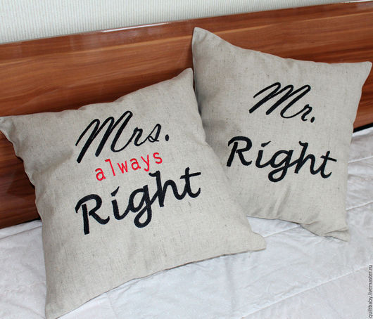 """Текстиль, ковры ручной работы. Ярмарка Мастеров - ручная работа. Купить Декоративные подушки """"Mr и Mrs Right"""". Handmade. Серый"""