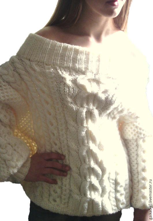 Кофты и свитера ручной работы. Ярмарка Мастеров - ручная работа. Купить Вязаный свитер в стиле Рубан. Handmade. Белый