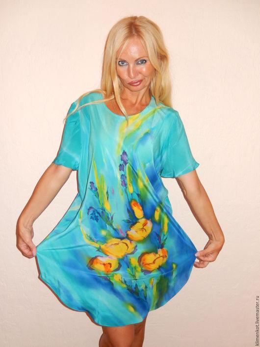 Большие размеры ручной работы. Ярмарка Мастеров - ручная работа. Купить платье-туника  - Желтые тюльпаны. Handmade. Бирюзовый, подарок