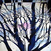 """Аксессуары ручной работы. Ярмарка Мастеров - ручная работа Платок  Эшер """" Рябь"""". Handmade."""