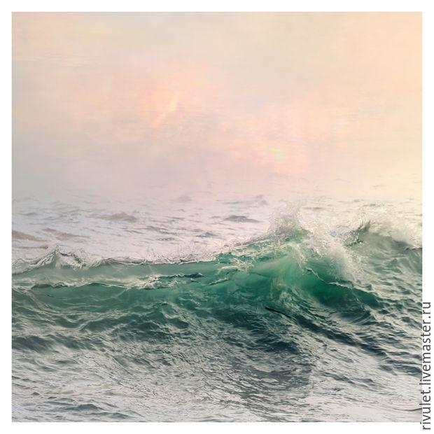 Фото картина море для интерьера, Морская картина с волнами `Изумрудный всплеск`, Фото картина для интерьера гостиной или спальни. Размеры печати: от 20x20 до 75х75 см // Eлена Ануфриева