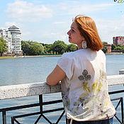 Одежда handmade. Livemaster - original item Summer blouse - cotton, contact dyeing, ekoprint. Handmade.
