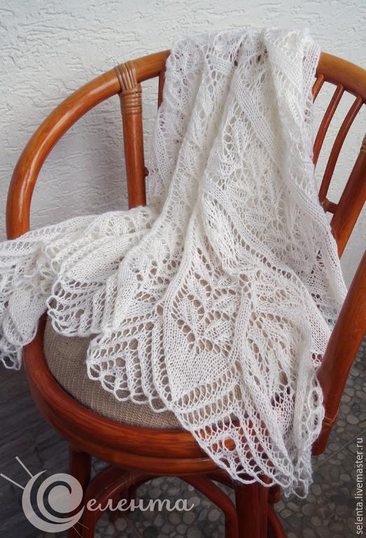 Шаль `Диамант` вязаная ажурная белая, шерсть, шелк, альпака, зимняя мода