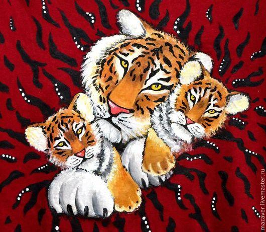 """Футболки, майки ручной работы. Ярмарка Мастеров - ручная работа. Купить Футболка """"Полосатики"""". Handmade. Разноцветный, футболка женская, тигр"""