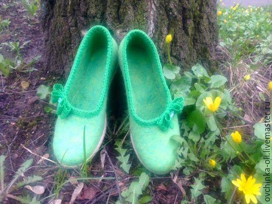 """Обувь ручной работы. Ярмарка Мастеров - ручная работа. Купить Балетки валяные """"Утренняя свежесть"""". Handmade. Мятный, валяная обувь"""
