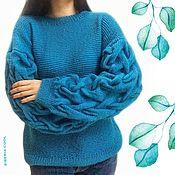 Одежда handmade. Livemaster - original item Vasilisa women`s jumper, knitted with knitting needles, braids on the sleeves, half-wool. Handmade.