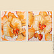 Картины цветов ручной работы. Ярмарка Мастеров - ручная работа. Купить Диптих «Орхидея – царица цветочного мира». Батик.. Handmade.