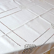 Для дома и интерьера handmade. Livemaster - original item White linen tablecloth with embroidery, merezhka, stitch embroidery. Handmade.