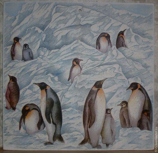 """Кухня ручной работы. Ярмарка Мастеров - ручная работа. Купить Разделочная доска панно """"Пингвины"""". Handmade. Разноцветный, пингвинчик"""